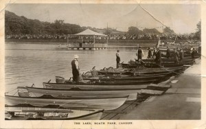Boats on Roath Park lake. Collection of Anne Bell