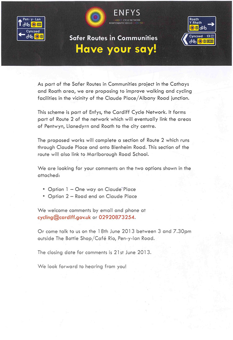 Claude Place/Albany Road consultation details