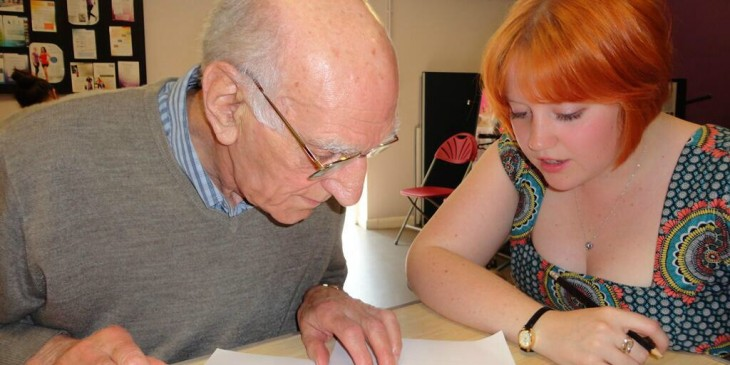 Ken Harrison and Catrin Hopkins working on a brain teaser at the Penylan support group