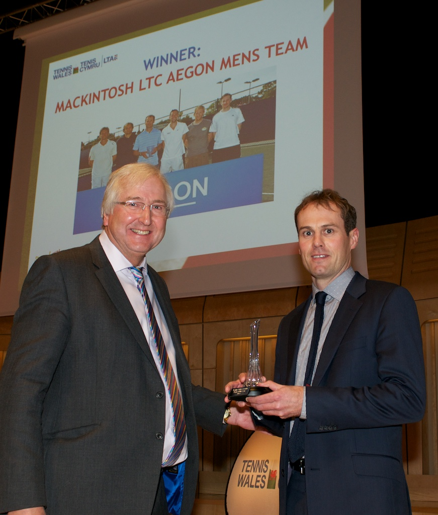 Mike Clarke, Chairman of Tennis Wales and Mark Loosemoore of Mackintosh LTC