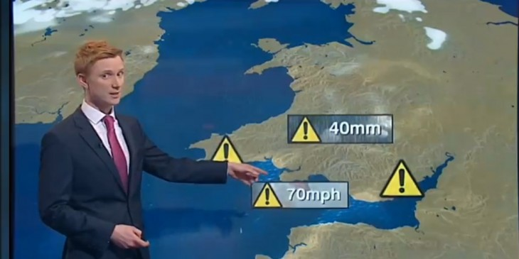 Owain Wyn Evans presenting the weather