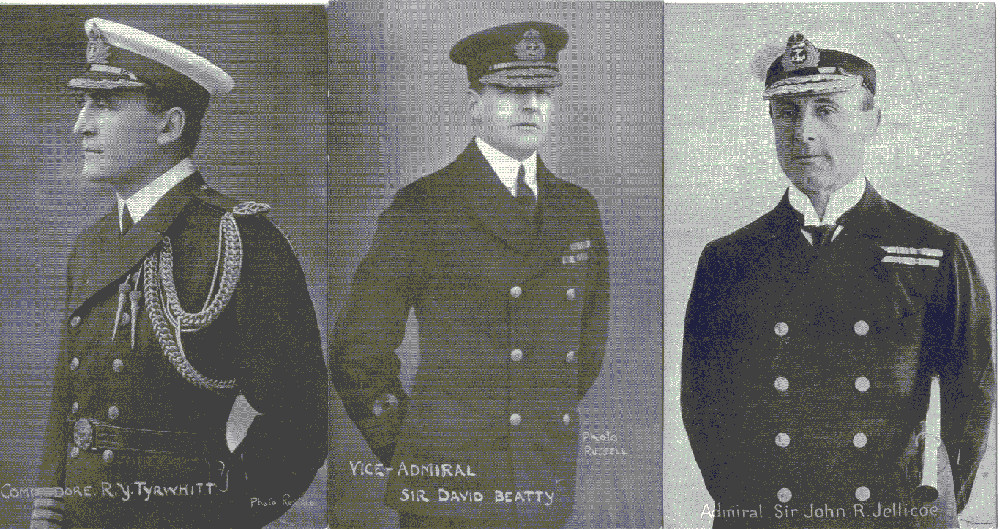 WW1 Naval officers Tyrwhitt, Beatty, and Jellicoe who gave their names to local roads