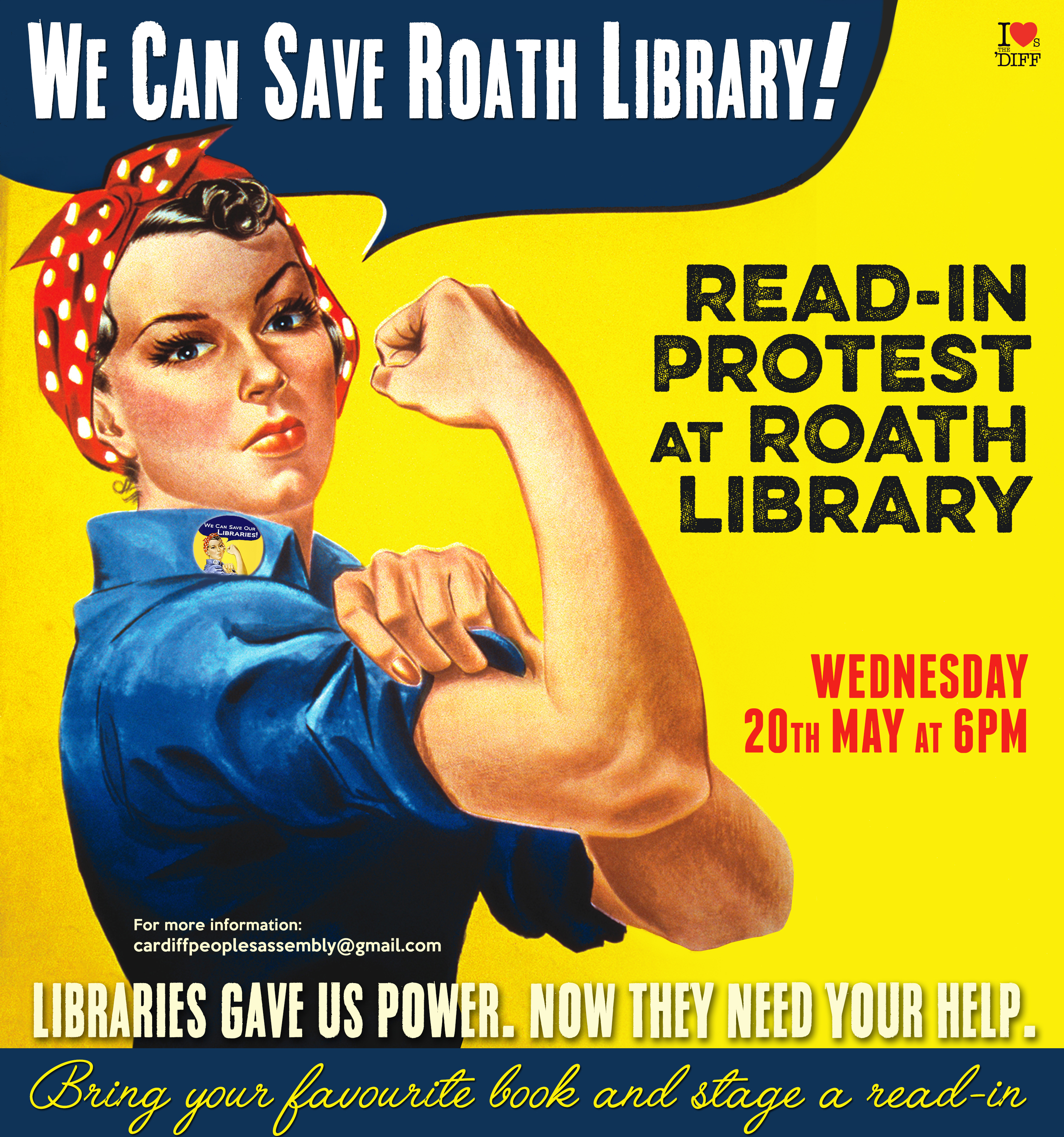 We can save Roath Library poster 20 May protest
