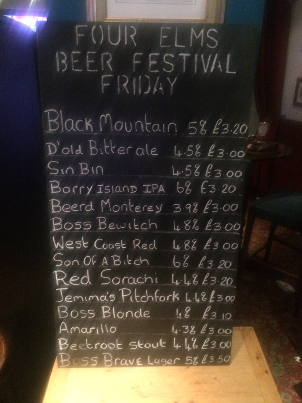 Four Elms Fest blackboard