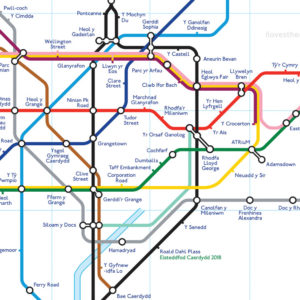Tube map of Cardiff (Cymraeg) courtesy of I loves the Diff