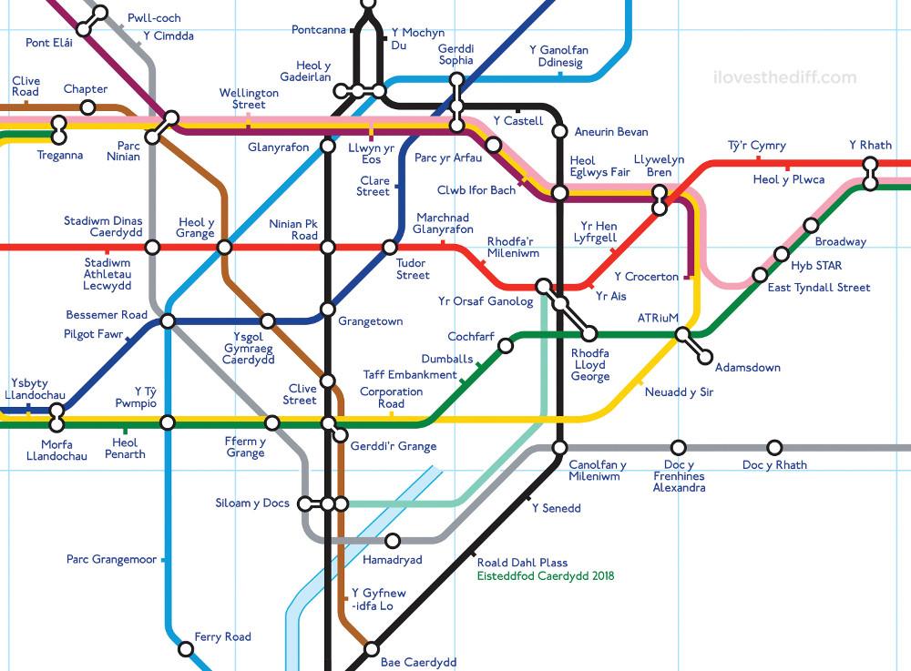 Tube map of Cardiff (Cymraeg) courtesy of I loves the Diff